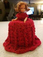 Vintage Toilet Paper brunette Doll Cover Crochet Red Handmade