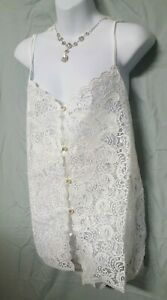 """Woman Within White Camisole Tap Pant Set Lace Sexy Plus 3X   BRIDAL  60"""" BUST"""