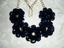 Dark Blue with Rhinestone Centers, Gold Tone Metal & Plastic Flower Necklace