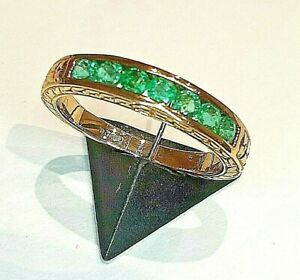 STUNNING SECONDHAND 9ct YELLOW GOLD EMERALD 1/2 ETERNITY BAND RING SIZE O1/2