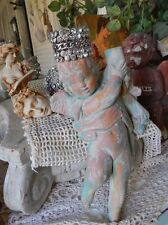 Shabby Chippy Old Vtg Cherub Putti Concrete Candle Holder Statue ~ Foot Tall!