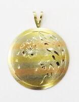 14k Tri Color Gold Diamond Cut Circle Flower Charm Necklace Pendant ~ 1.7g