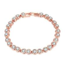Rose Gold Plated Tennis Chain Bracelet Dazzling Cubic Zirconia Women Jewelry DE