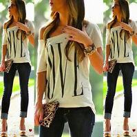 Fashion Sexy Womens Love Print Short Sleeve T-Shirt Summer Casual Tops Blouse