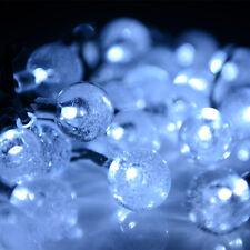 Cool White Crystal Ball LED String Light Fairy Solar Power Xmas Wedding Party