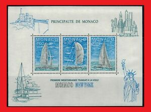 ZAYIX - 1985 Monaco 1486 MNH SS - Transatlantic Yachting Race