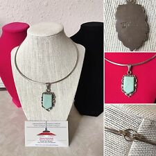 Mexico Taxco Modernist Sterling Silver Turquoise Pendant Necklace Choker 925