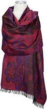 Schal Violett Beere Wolle wool scarf stole écharpe foulard Violet Brown Floral