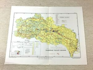 1968 Vintage Map of India Damodar River Valley Jharkhand Economic Industry Chart