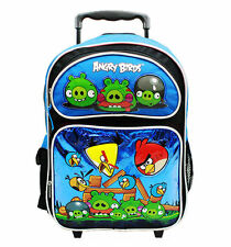 "Angry Birds 16"" Canvas Blue School Rolling Backpack"