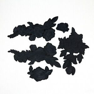 Big Embroidered Black Rose flowers Patches Iron on Sew On Patch DIY Repair Decor