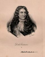Portrait of Jean from La Fontaine - Lithography Original Xixth