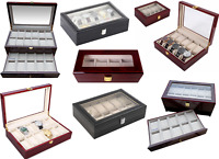 Watch Box Luxury Solid Wooden & Glass Box in 4/10/12/22 Grid case watch Display