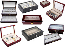 Watch Box Luxury Solid Wooden & Glass Box in 4/6/10/12/18/24 case watch Display