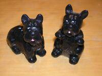 Pair Vintage Black Scottie Scottish Terrier Dogs Salt Pepper Shakers