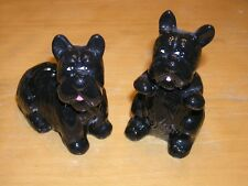 Pair Vintage Black Scottie Scottish Terrier Dogs Salt Pepper Shakers
