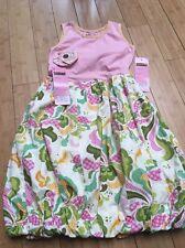 Girls MUSTARD PIE Olivia Dress Green Pink Polka Dot HairBow Couture New Sz 10!