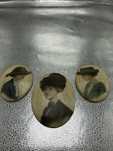 3 Ladies Vintage Bone Antique Oval Wall Pictures
