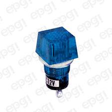 Panel Lamp Illuminated Blue Lens 12Vdc Square Shaped #N799Pbl