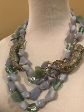 ALEXIS BITTAR CRYSTAL ENCRUSTED Two Stranded Jaguar STATEMENT NECKLACE GORGEOUS!
