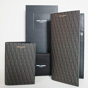 SAINT LAURENT YSL Classic Toile MONOGRAM Travel Business Wallet +Passport Holder