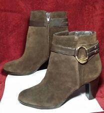 Ralph Lauren Myla Chocolate brown Suede leather Zip Up Heeled Ankle Boot 8 B