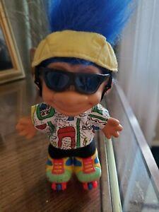 "Russ 5"" Troll On Rollerskates Blue Hair Yellow Hat"