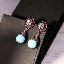 Boucles d'Oreilles Doré Floral Cristal Opale Perle Turquoise Bleu Class AA25
