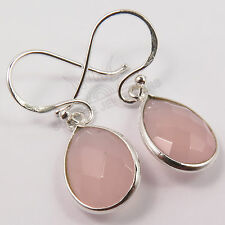 925 Solid Sterling Silver Checker Faceted PINK CHALCEDONY Gemstones Earrings