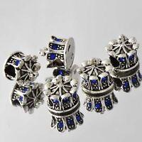 5pcs SILVER MURANO BEAD LAMPWORK Fit European Charm Bracelet 007-5