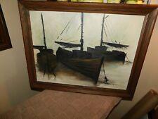 Docked Fishermen Sailboats Original Oil Painting Signed A Ryan
