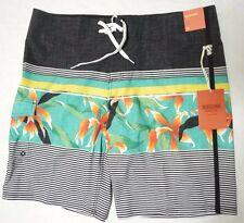 Mossimo Below Knee Board Shorts Swim Trunks Tropic Green Hawaiian 38 Waist NWT