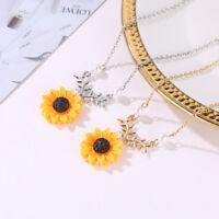 Sunflower Pendant Necklace Earring Stud Women Fashion Jewelry Sweater Chain Gift