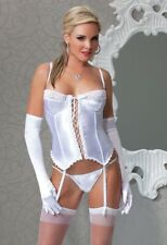 1X/2X Plus Feminine Bridal UW Padded Satin/Lycra Bustier & Thong Set COQUETTE