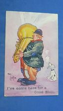 Vintage Reg Carter Comic Postcard 1910s Tuba Wind Instrument Brass Band Music