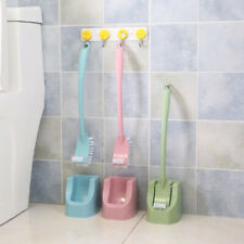 Toilet Brush Holder Set Double-Sided Brush Head Deep Cleaning with Fixed Base