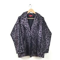 Shamask Jacket 2 Purple Black Brocade Velvet Paisley Printed Silk Cocktail Coat