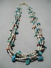 MARVELOUS VINTAGE NAVAJO TURQUOISE CORAL NECKLACE OLD