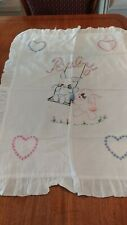 New listing Vintage Embroidered Bunny Baby Quilt/Cover/Blanket/Throw