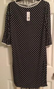 ANNALEE & HOPE Women's Sz L Black White Polka Dot Dress Stretch NWT!