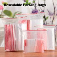 100pcs Storage Plastic Bags Press Resealable Transparent Zip Lock Clear Food bag