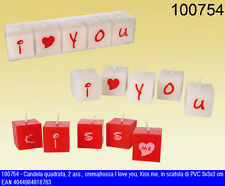 "Set  5 candeline innamorati ""I love you"" e ""kiss me"" 3x3x3"