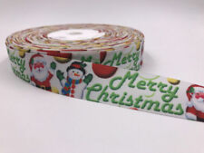 5 Yard 1'' Santa Claus Snowman Printed Grosgrain Ribbon Hair Bow Sewing Ribbon