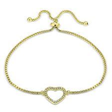 Gold Ton über Sterling Silber Zirkonia Offenes Herz Verstellbares Armband