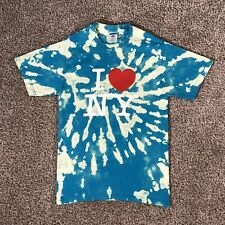 I Love NY Bleach Dyed T Shirt Tie Dye Custom Blue New York Unisex Adult Small