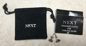 Next sterling silver purple stud earrings