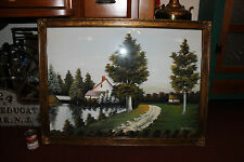 Stunning Painting Country Cottage House Trees Water Grass-Signed Lynne-Lifelike