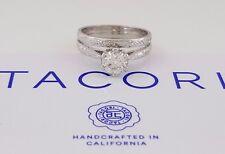 TACORI 1 ct Platinum Round Diamond Engagement / Wedding Ring Set GIA H / VS1