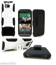 HTC One M8 case and Belt Clip Holster with stand White on Black