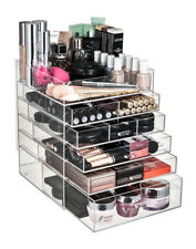 6 TIER ACRYLIC COSMETIC MAKEUP GLAM ORGANISER STORAGE BOX CASE DRAWERS WITH LID